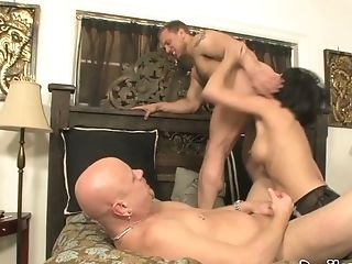 Roxanne Hall Fucks Tom Moore And John Magnum In Exotic Threesome With Strap On