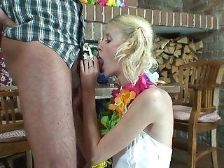 Skinny Blonde Mega-slut Katie B Spreads Her Gams For A Hard Penis