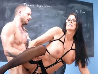Looker With Enormous Tits Managed To Spunk A Few Times With Student