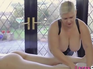 Massaging Blonde Old Bitch