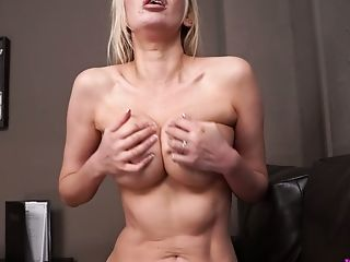 Lady In Crimson Amber Jayne Wanks Off Dick And Takes Money-shots On Her Faux Knockers