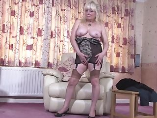 Buxom First-timer Matures Brit Granny Cindy S. Masturbates In Pantyhose