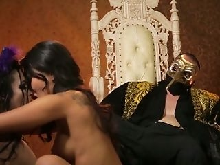 Exotic Magical Nymphomaniac Asa Akira Loves Scissoring In Front Of Masked King