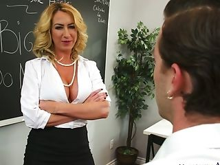 Magnificent And Lascivious Blonde Cougar Blows Dick And Fucks Her Colleague
