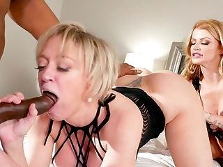 Matures With Crazy Tits Shares Tasty Big Black Cock With Horny Best Friend, Also A Steaming Mummy