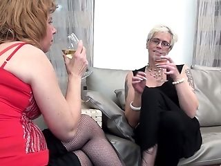 Two Old Supersluts Get Their Coochies Tongued By A Mischievous Junior Nymph