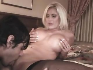 Huge-boobed Blonde Cougar In Stockings Fucks Her Spouse In A Motel Room