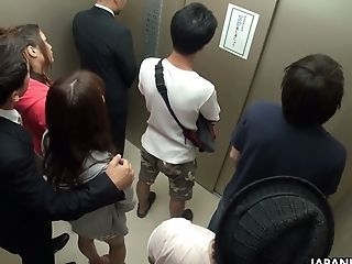 Crazy Japanese Elevator Group Flick Featuring Yummy Mischievous Stunner Aoi Miyama