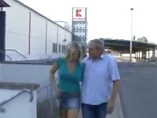 German  Woman Fucks With A Fresh Friend In Front Of The Car Park