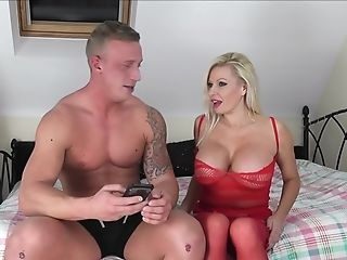 Gigantic Faux Tits Of Blonde Cougar Michelle Thorne Sprayed With Spunk