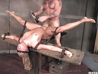 Eyes Covered Enslaved Stunner Julia Waters Tied To A Pole And Fed Man Meat